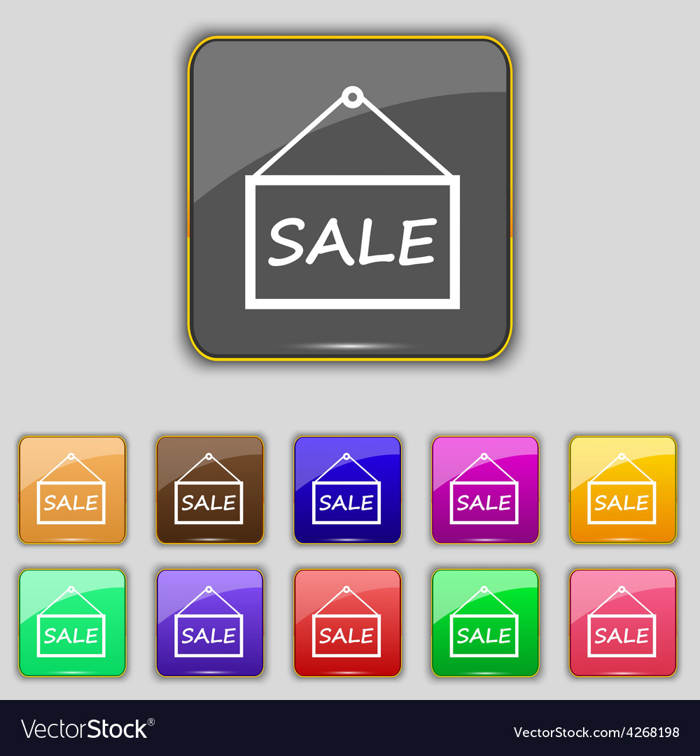 Sale tag icon sign set with eleven colored buttons vector | Price: 1 Credit (USD $1)