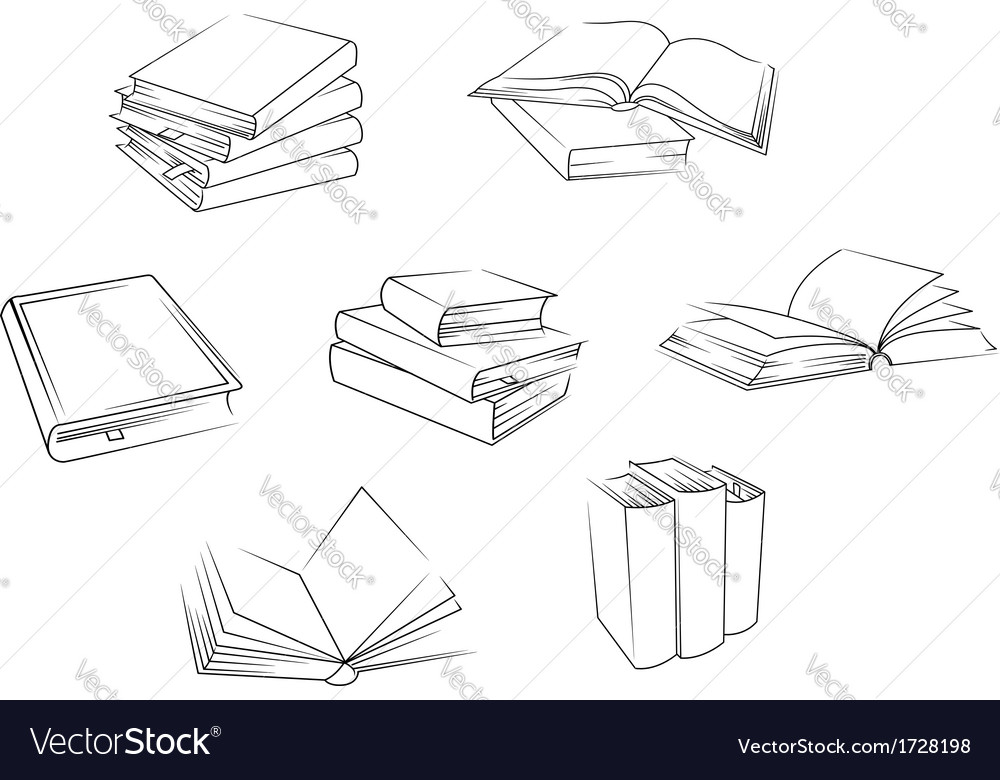 School and library books set vector | Price: 1 Credit (USD $1)