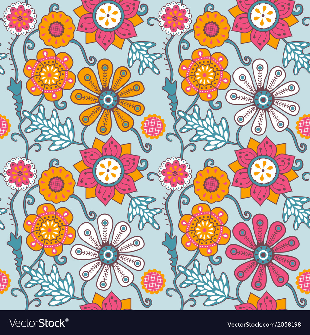Seamless texture with flowers endless floral vector   Price: 1 Credit (USD $1)