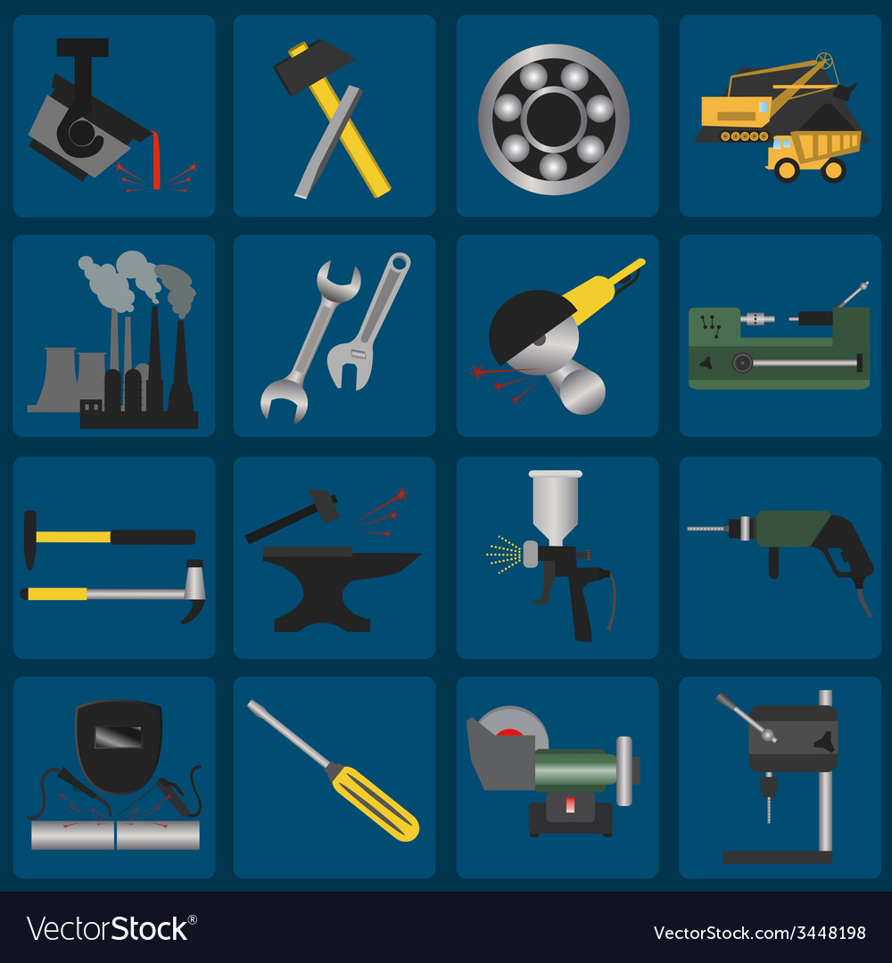 Set of metal working tools icons vector | Price: 1 Credit (USD $1)