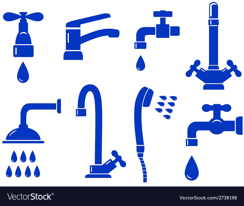 Water set with isolated faucet icon vector | Price: 1 Credit (USD $1)