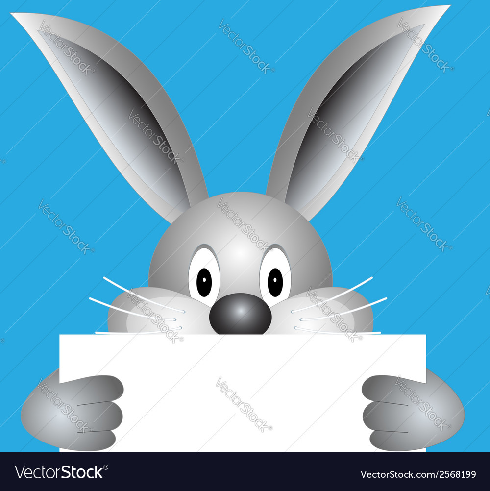 Bunny with blank sheet vector   Price: 1 Credit (USD $1)