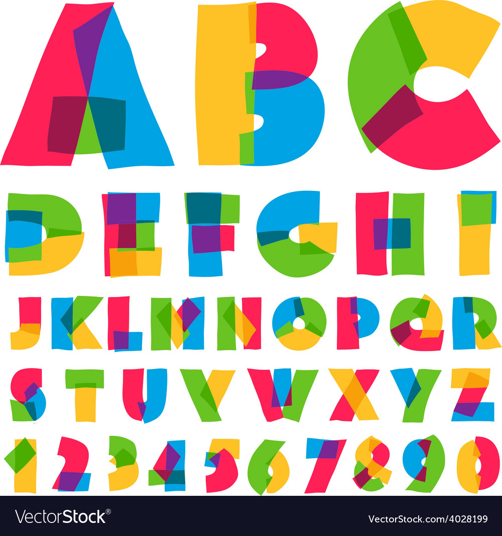 Colorful kids alphabet and numbers vector | Price: 1 Credit (USD $1)