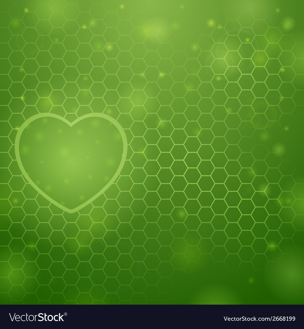 Heart and green background vector | Price: 1 Credit (USD $1)