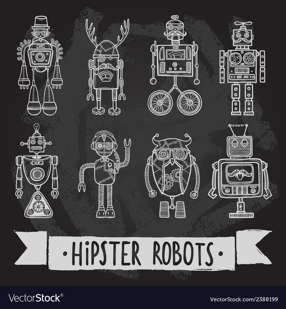 Hipster robot set vector | Price: 1 Credit (USD $1)