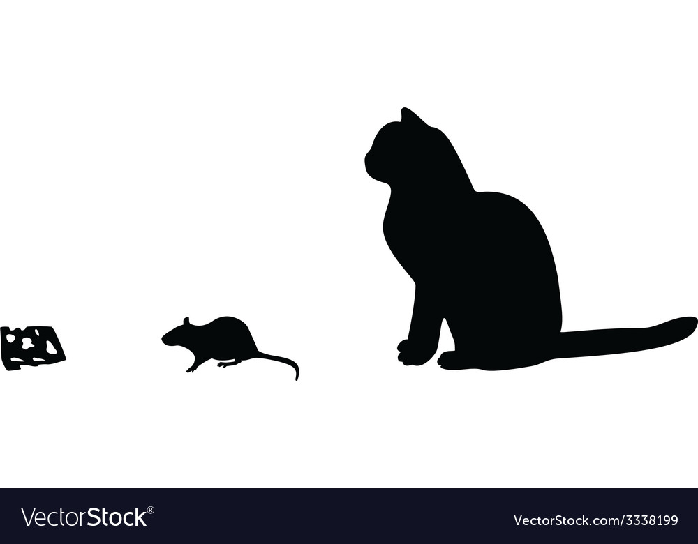 Mouse cat cheese silhouette vector | Price: 1 Credit (USD $1)