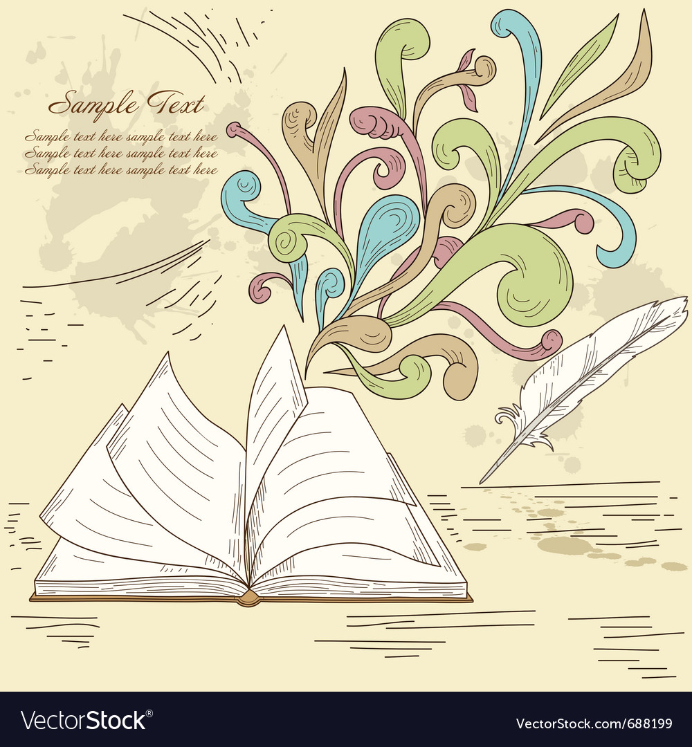 Opened book with abstract design vector | Price: 1 Credit (USD $1)