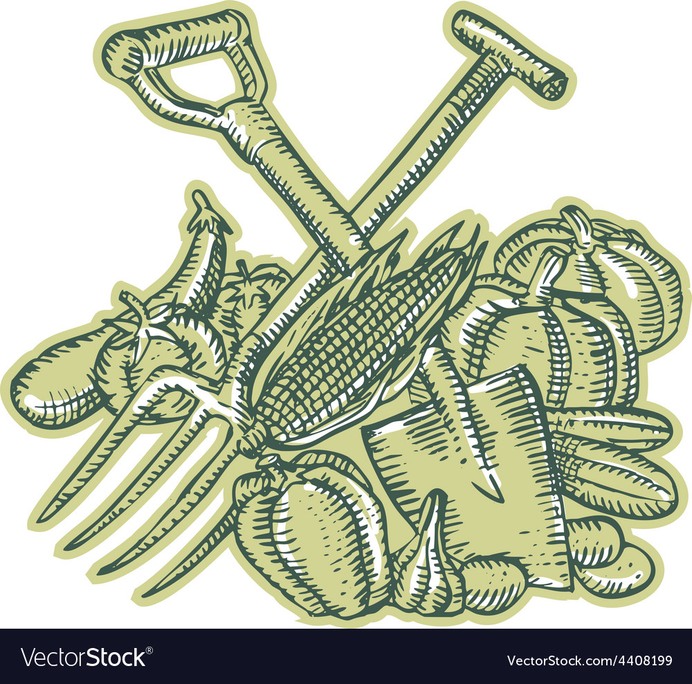 Spade pitchfork crop harvest etching vector | Price: 1 Credit (USD $1)