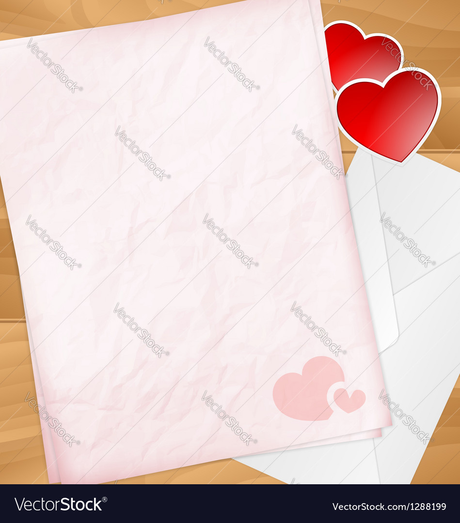 Sweet valentine letter with stickers vector | Price: 1 Credit (USD $1)