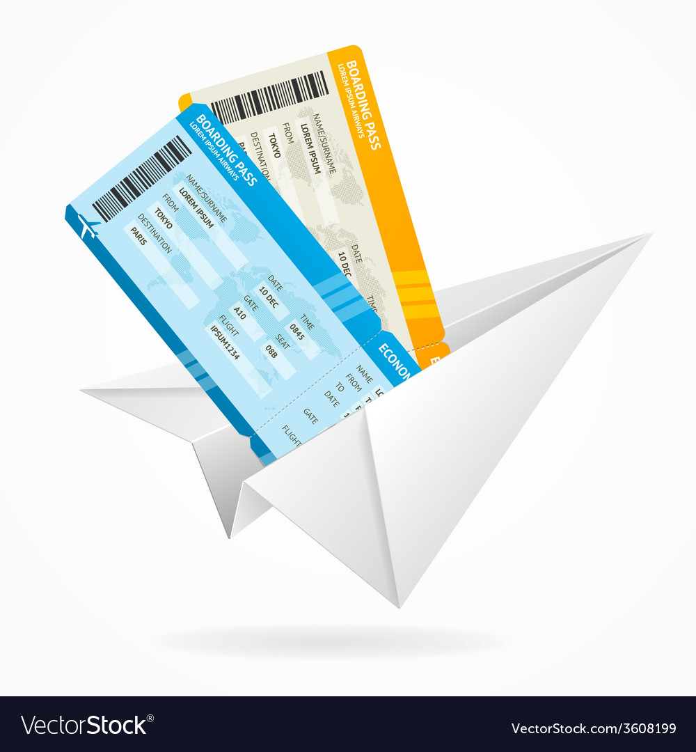 Tickets and globe travel concept vector | Price: 1 Credit (USD $1)