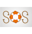 Rope and float forming sos signal isolated on whit vector