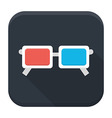 3d glasses flat app icon with long shadow vector