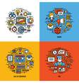 Flat line icons set of seo smm ui and ux design hr vector