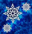 Christmas set snowflakes on dark blue grunge vector