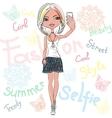 Cute girl makes selfie vector