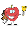 Happy red school apple ringing a bell vector