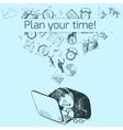 Time management poster sketch vector