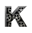 Metal and wheels cutted figure k paste to any vector