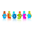 Closed title with colorful paper cut people vector