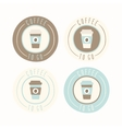 Coffee to go set of 4 badges vector