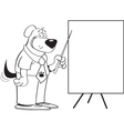 Cartoon dog with a chart vector