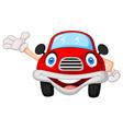 Cute red car cartoon character vector