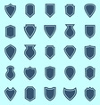 Shield color icons on blue background vector