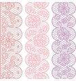 Lace fabric seamless borders with abstact flowers vector