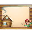 An empty wooden frame with a lumberjack shouting vector