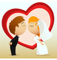 Cartoon bride and groom kiss vector