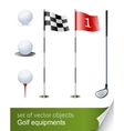 Set of golf equipment vector