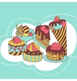 Frame with and sweet little cupcakes vector