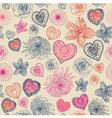 Vintage floral hearts pattern vector