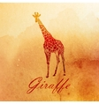 Vintage of a watercolor giraffe on the old paper vector