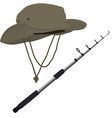 Fishing pole and hat vector