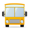 Cartoon yellow bus in front view vector