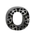 Metal and wheels cutted figure o paste to any vector