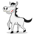 Funny white horse vector