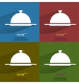 Color set restaurant cloche flat modern web button vector