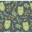 Seamless pattern with cute owls leaves vector