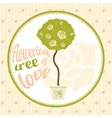 Flowering tree of love in the pot spherical crown vector