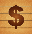 Dollar on wooden background vector