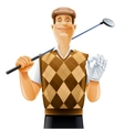 Golf player with club and ball vector