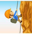 Cartoon rock climber on vertical cliffside vector