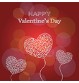 Happy valentines day card with hearts and text vector