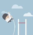 Businessman doing the pole vault vector