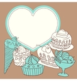 Frame with sweet little cupcakes vector