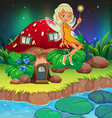 A fairy above the red mushroom house vector