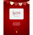 Valentine heart card with ribbon and sample text vector