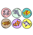 A set of aquatic animal on round background vector